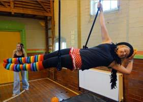 Lady on trapeze