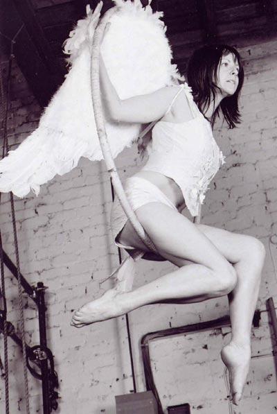 White angel on aerial hoop